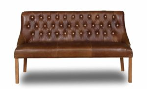 Vintage Sofa Co Stanton 2 Seater Loveseat Bench in Cerato Leather with Light Oak legs and Cotswold Fabric Buttons