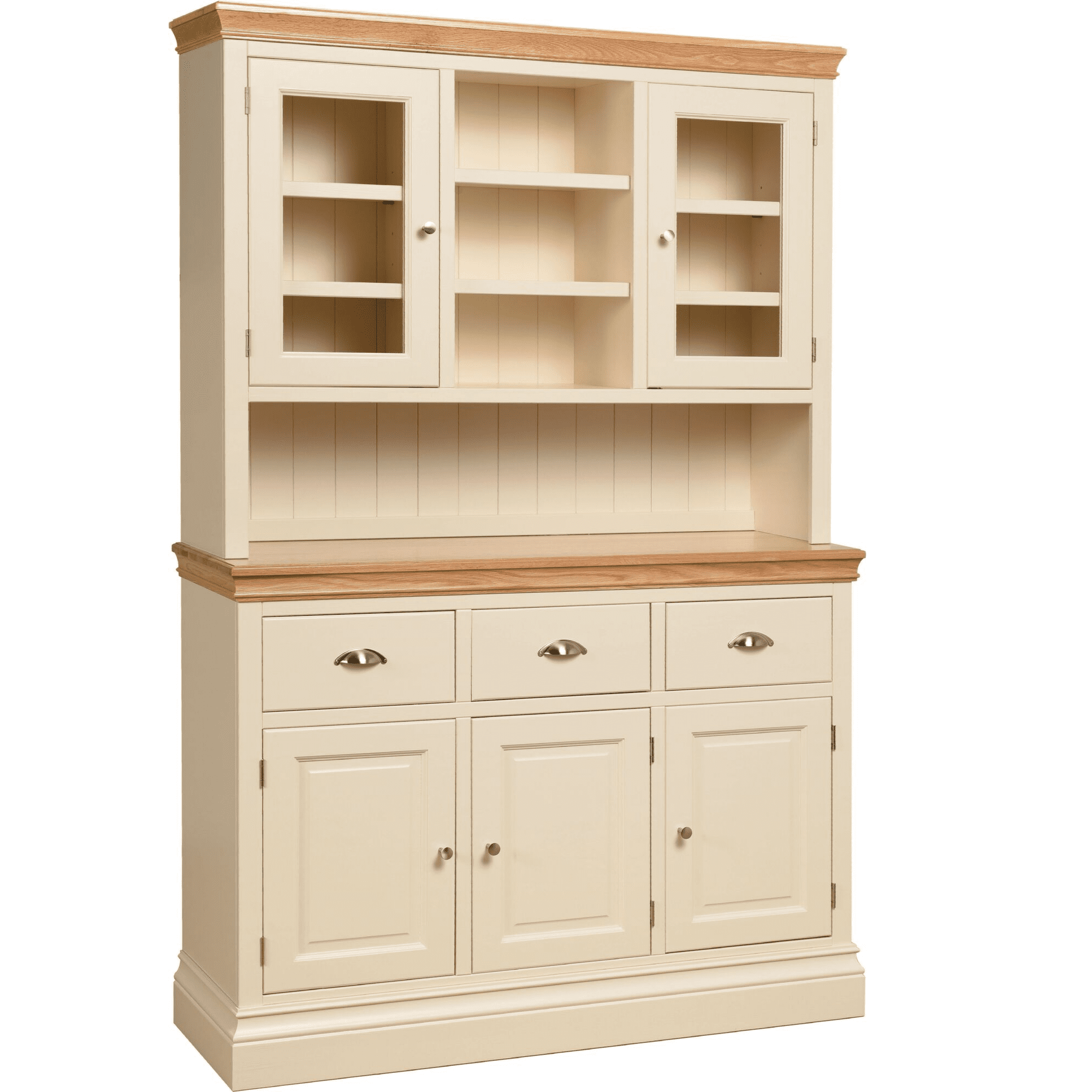 Lundy painted 4'6 glazed top dresser with space in middle rack. 3 drawers