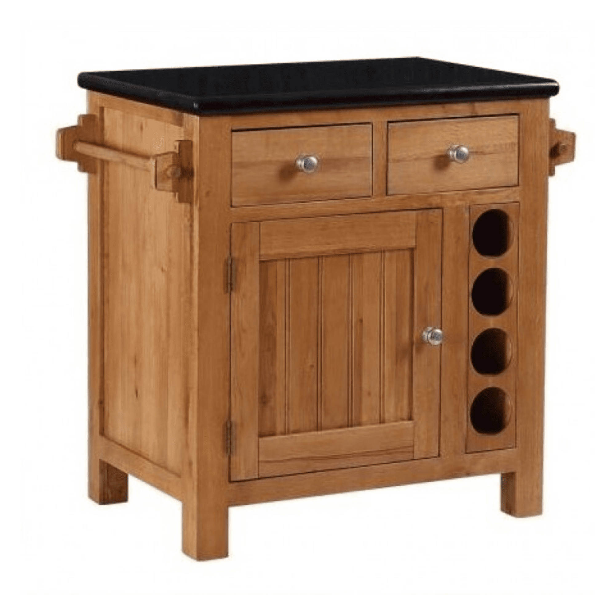 Small kitchen island with granite top and drawers and doors