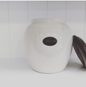 country kitchen cereal jar with wood lid