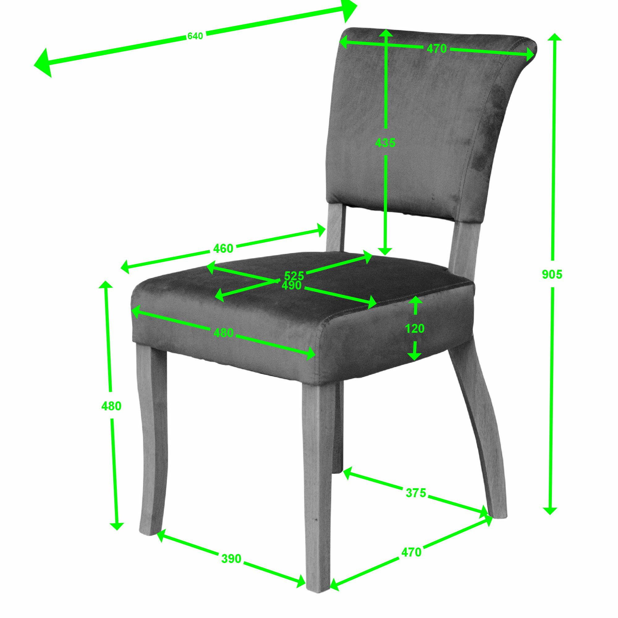 capri dining chair velvet measures