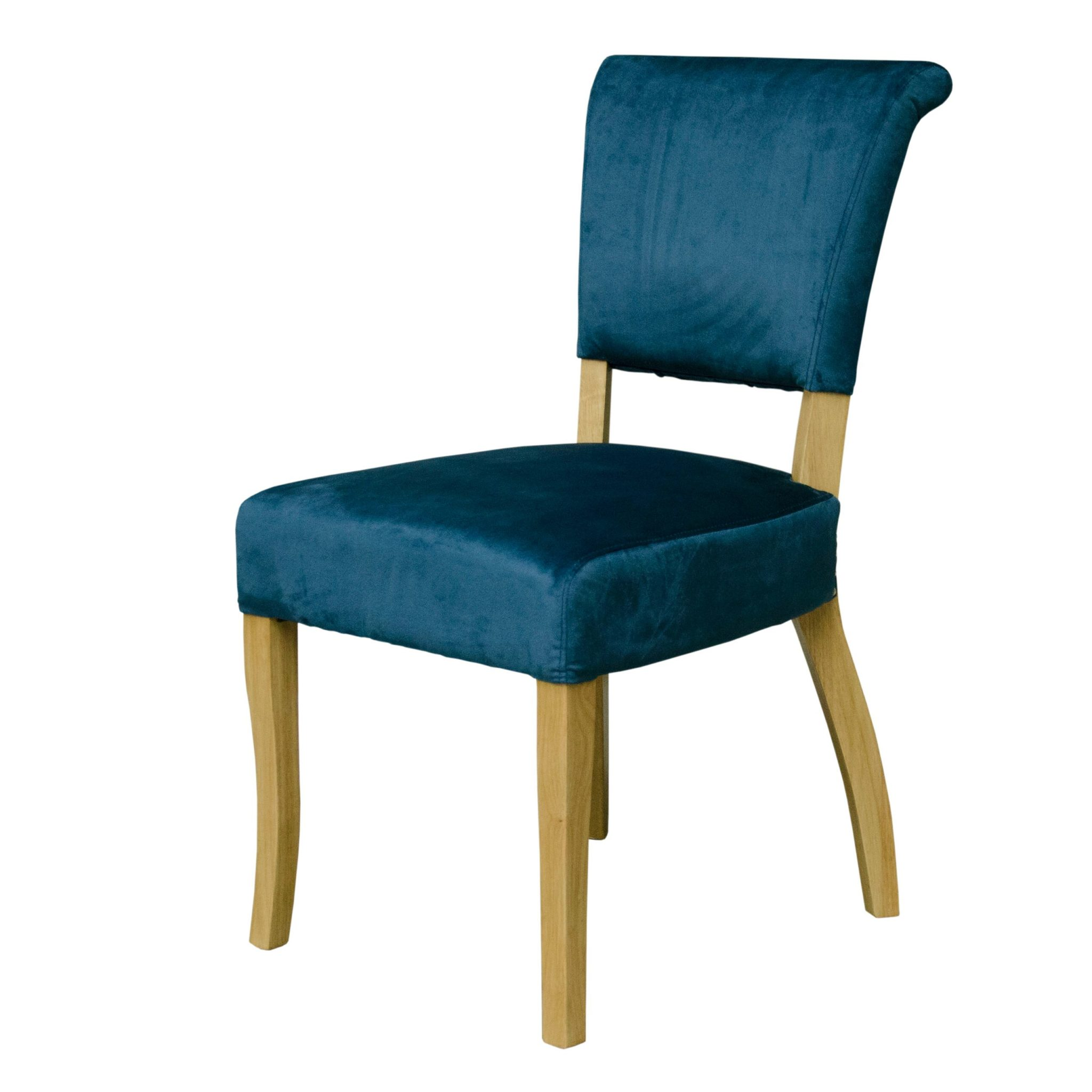 Capri dining chair with oak legs and studded back - petrol blue