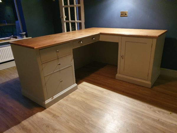 bespoke corner desk painted pavillion grey with waxed pin top, pedestal with drawers and cupboard