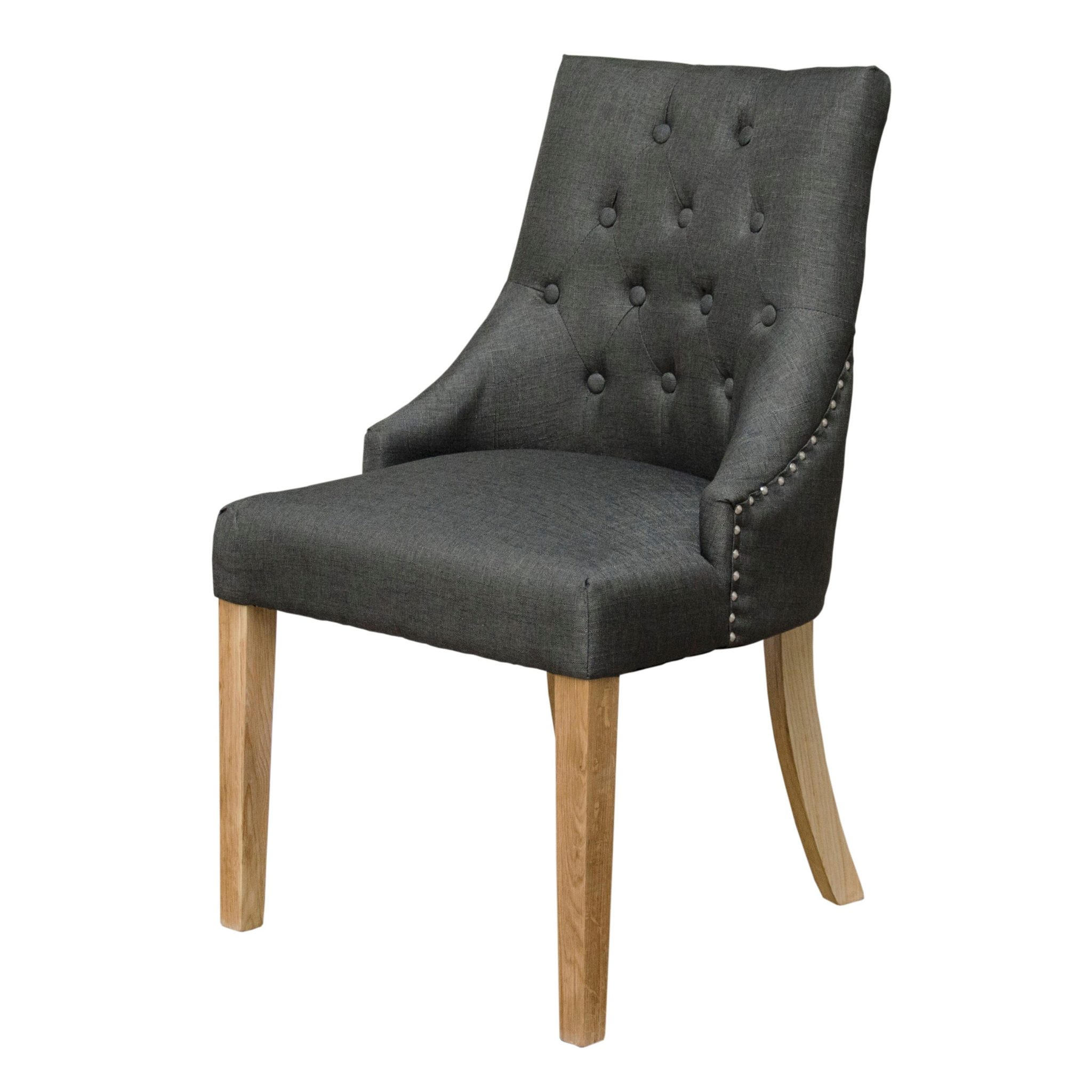 Windsor fabric dining chairs - charcoal