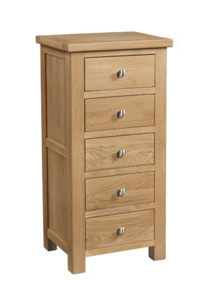 Dorset oak 5 drawer tall chest - wellington chest
