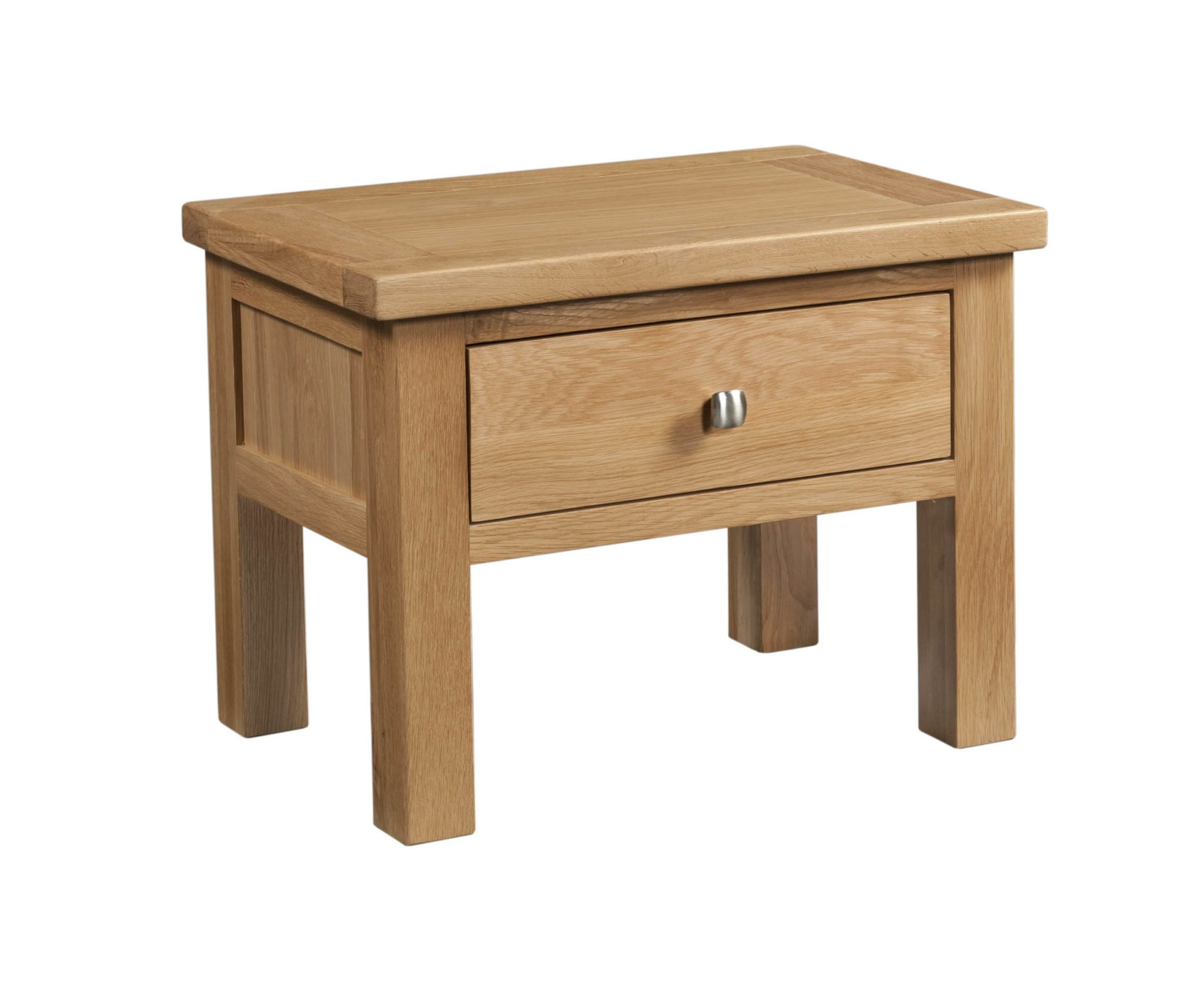 Dorset oak side table with drawer and silver knob