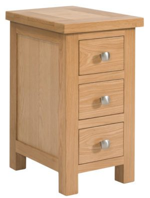 Dorset oak compact bedside chest with with silver knobs