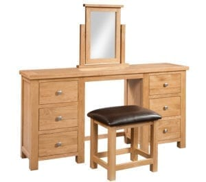 Dorset oak double pedestal dressing table with stool set