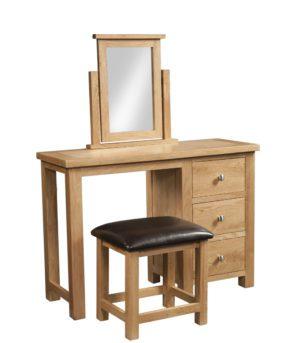 Dorset oak single pedestal dressing table with stool. light oak finish