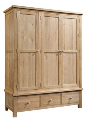 Dorset Oak Triple wardrobe with 3 drawers
