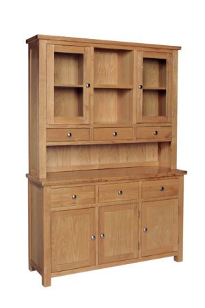 Dorset Oak complete kitchen dresser with glazed doors on the rack and 3 drawer sideboard below