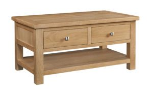 Dorset oak 2 drawer coffee table and shelf under