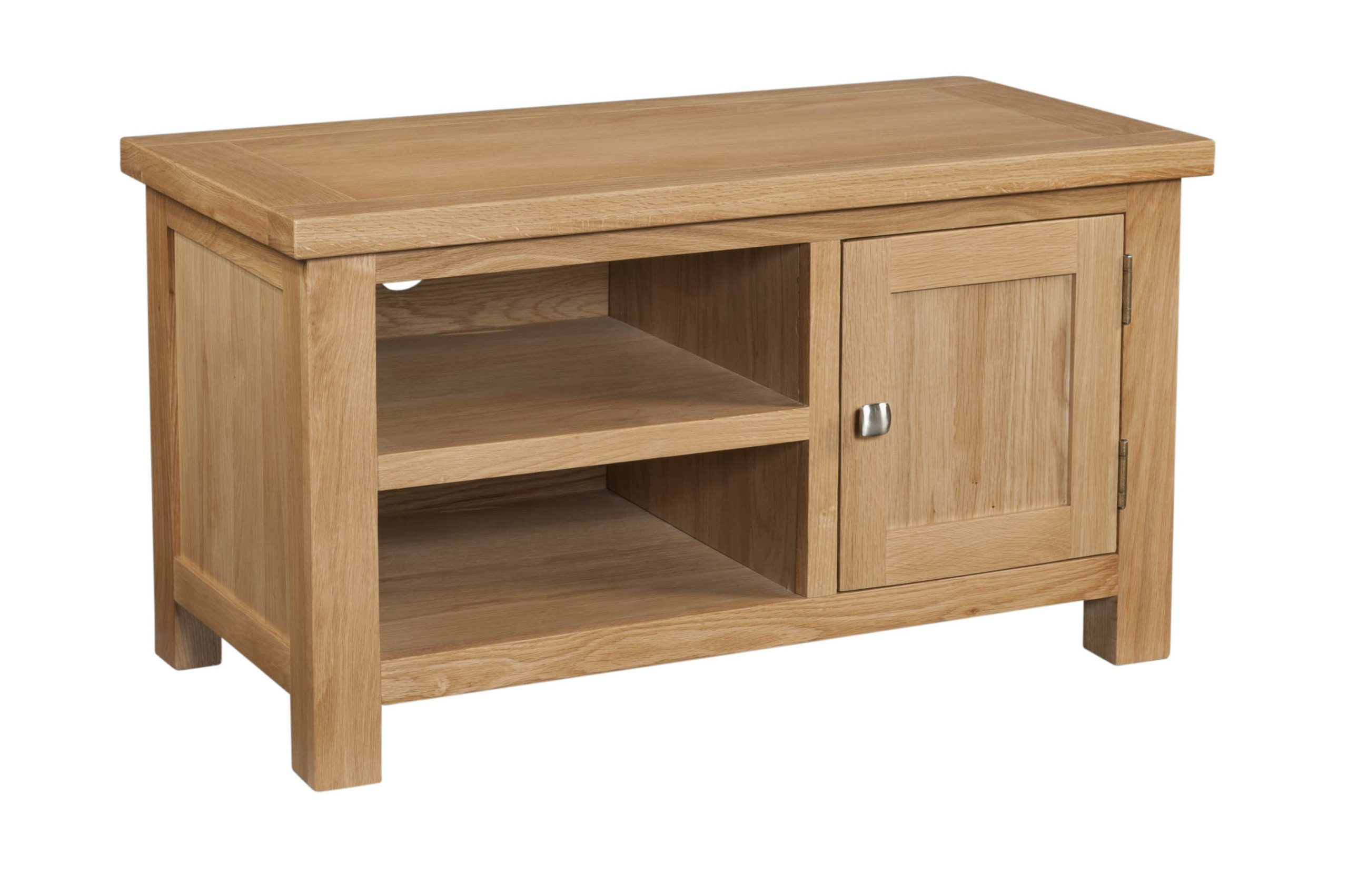 dorset oak 1 door tv unit shelf at the side and silver knob