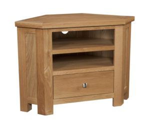 Dorset oak DOR073 corner tv unit with drawer and shelves