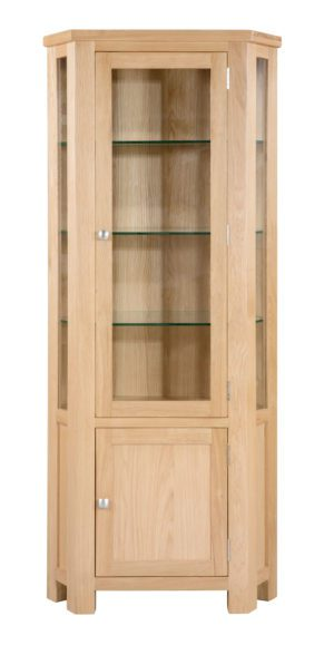dorset oak corner display cabinet with glass sides and door