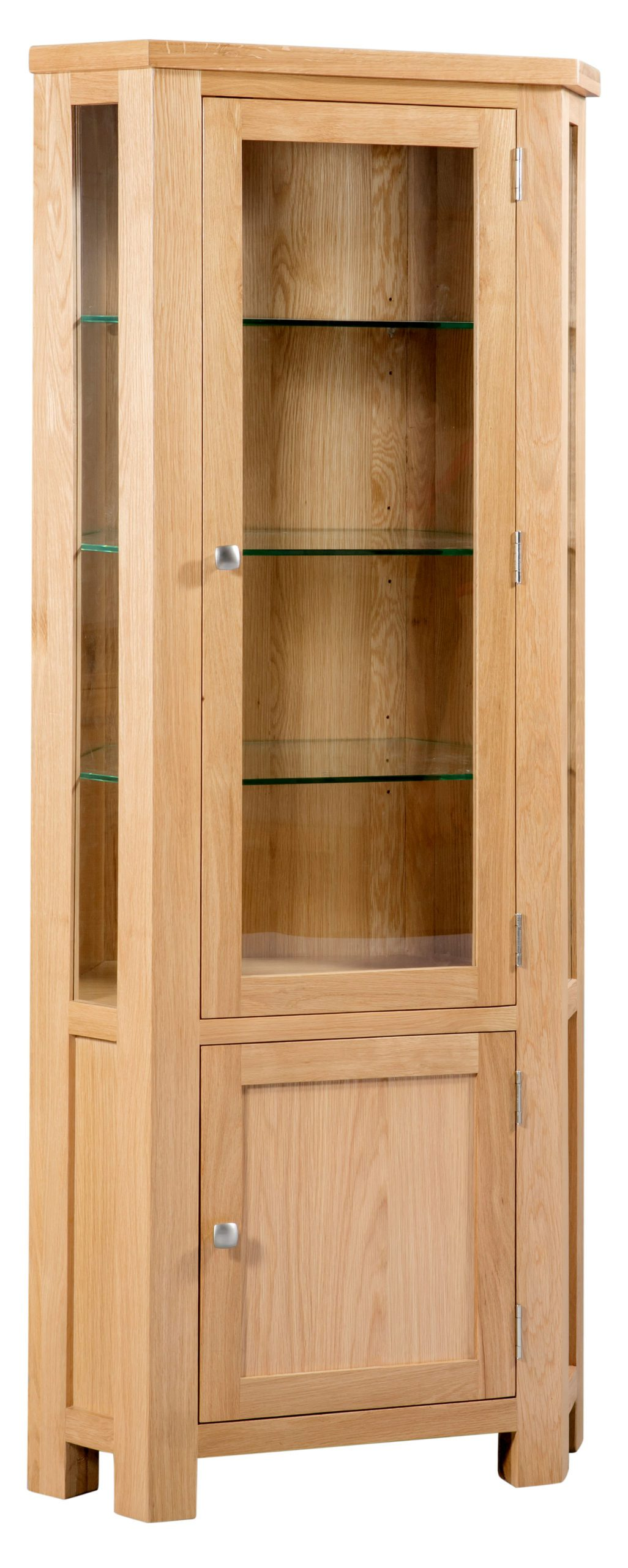 Dorset oak corner display unit with glass sides and doors