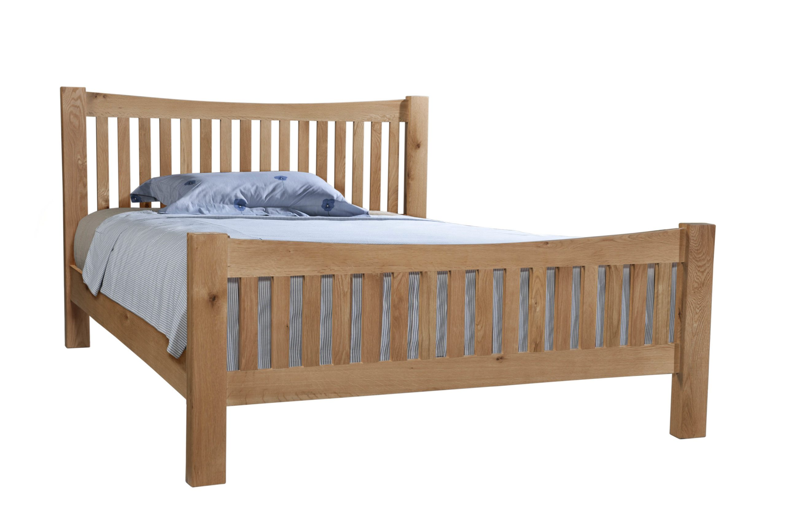Dorset oak DOR43 king size bed with slatted headboard and footend