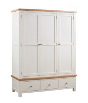 Dorset painted triple wardrobe with 3 drawers