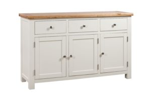 Dorset painted 3 door sideboard with three drawers and 3 doors. oak top