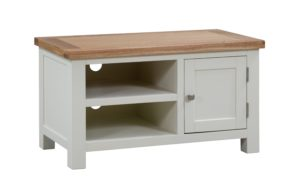 Dorset painted small standard tv unit with oak top and door