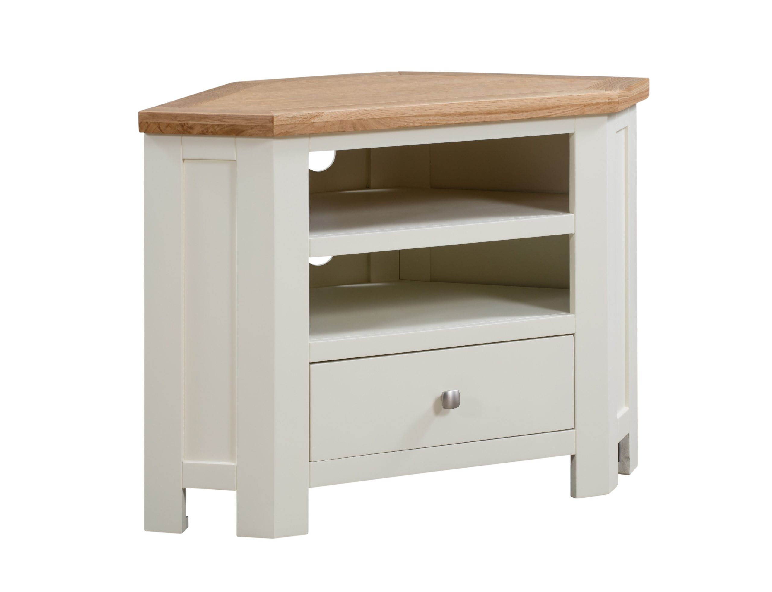 Dorset painted corner tv unit with shelf and drawer and oak top