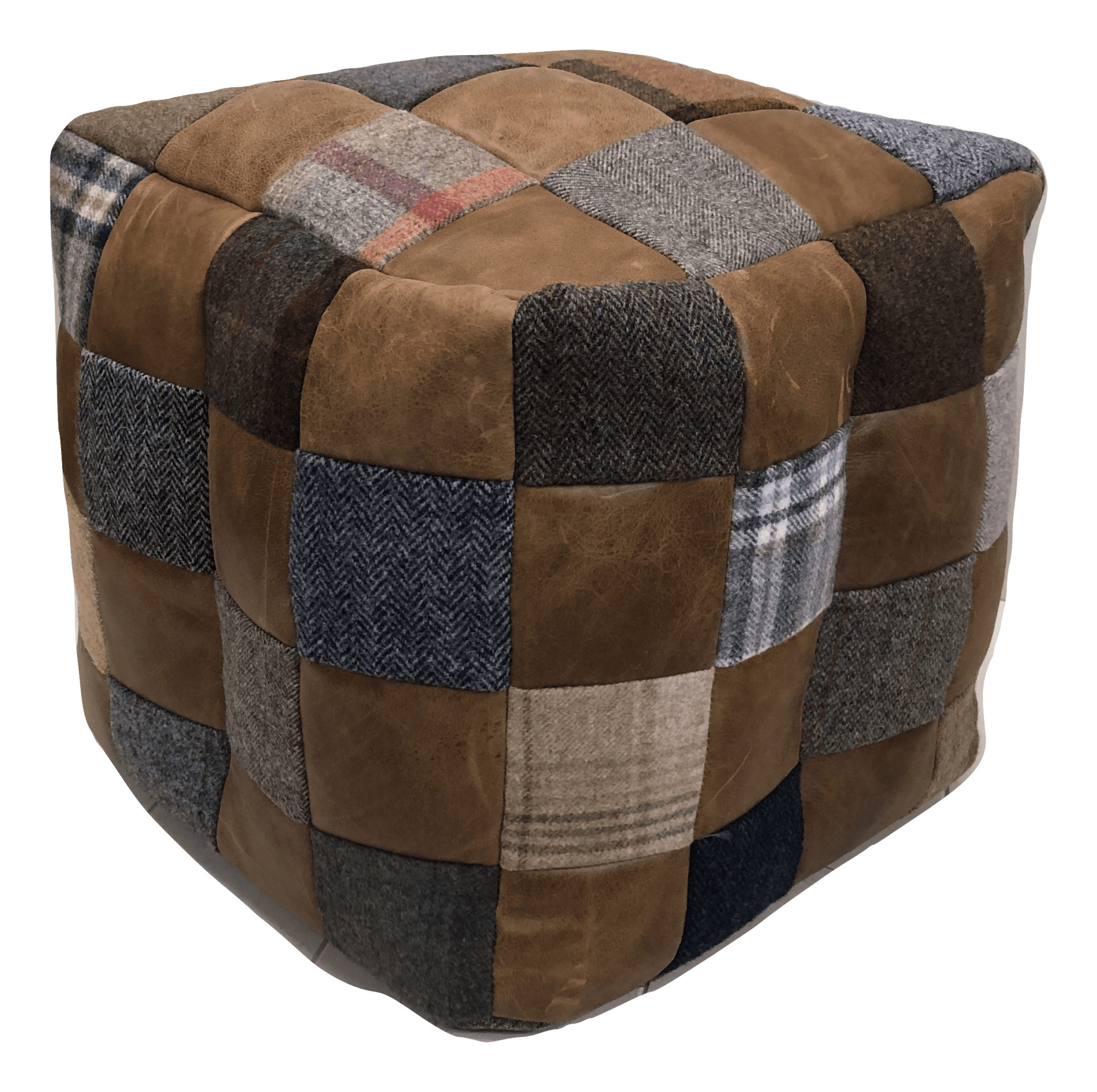 mixed wool and leather beanbag footstool square