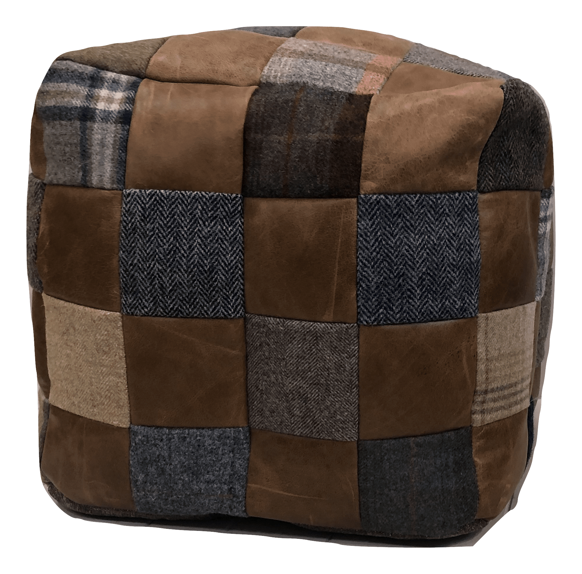 Mixed wool and leather beanbag footstool