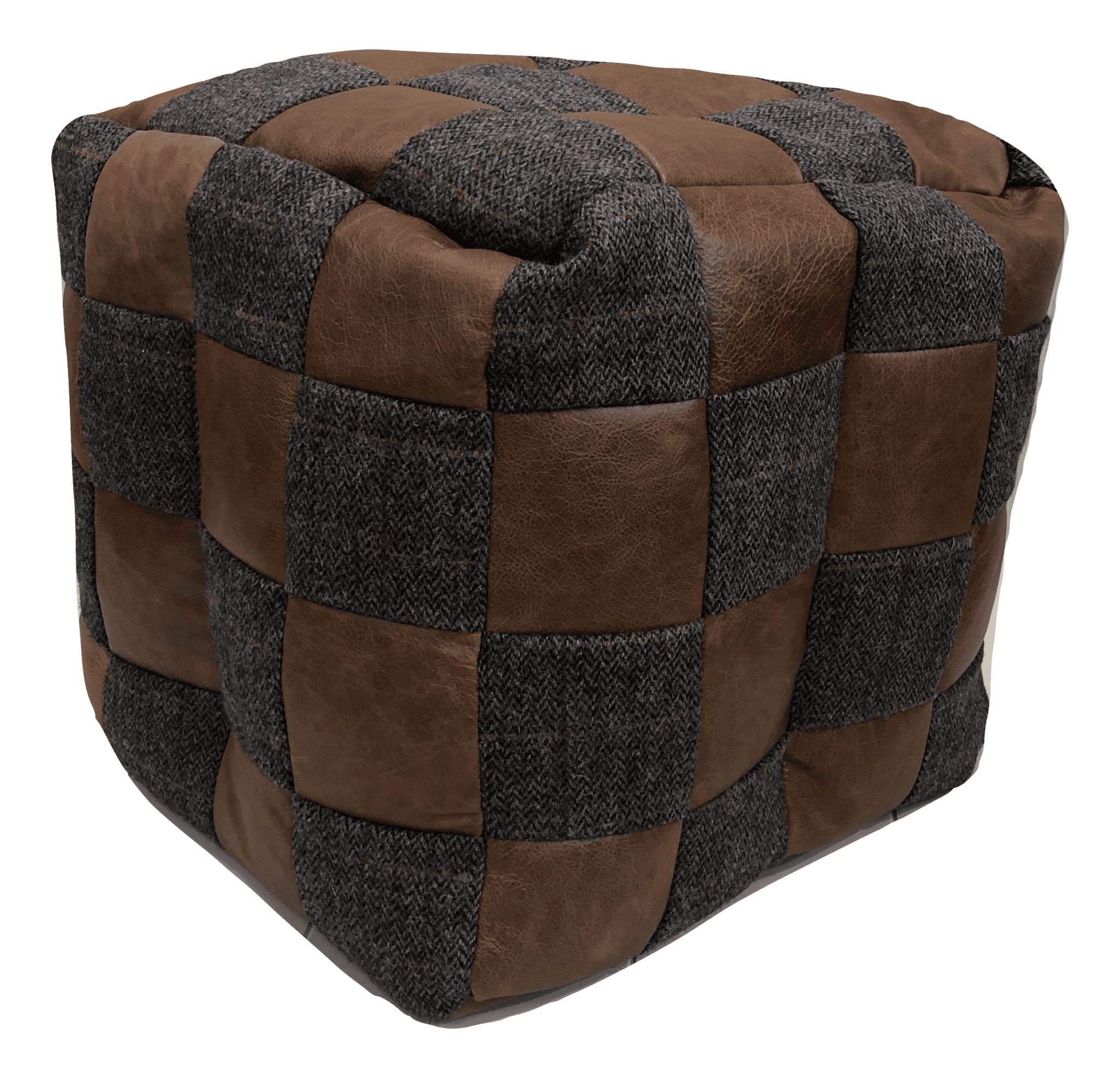 Moreland tweed square footstool beanbag with contrasting leather