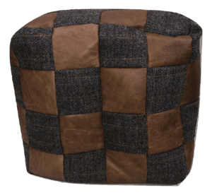 moreland tweed square beanbag footstoolwith contrasting leather