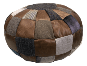 Round Beanbag Footstool mixed wool and cerato leather