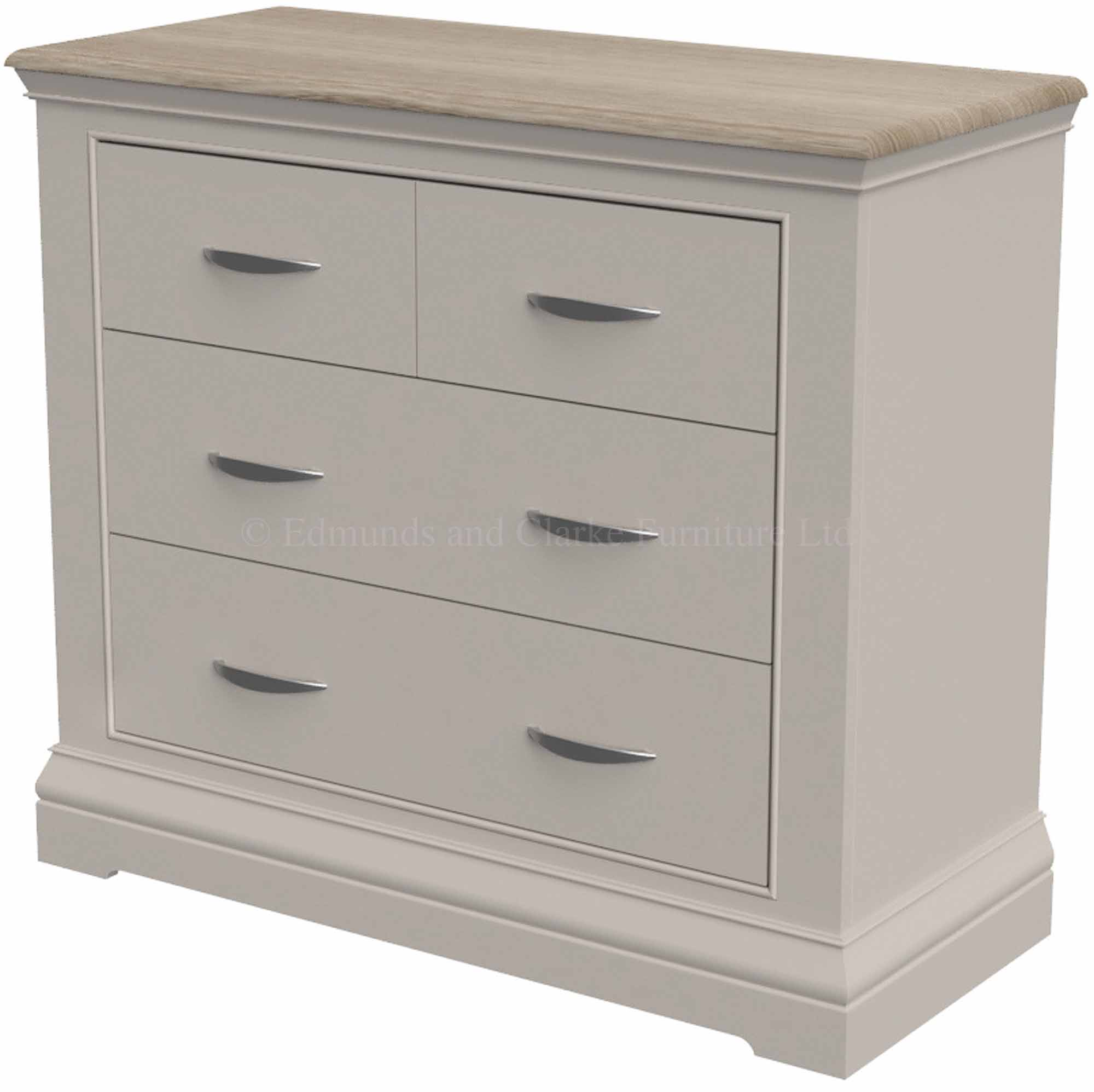 Aldeburgh 2 over 2 chest of drawers with oak top and silver handles