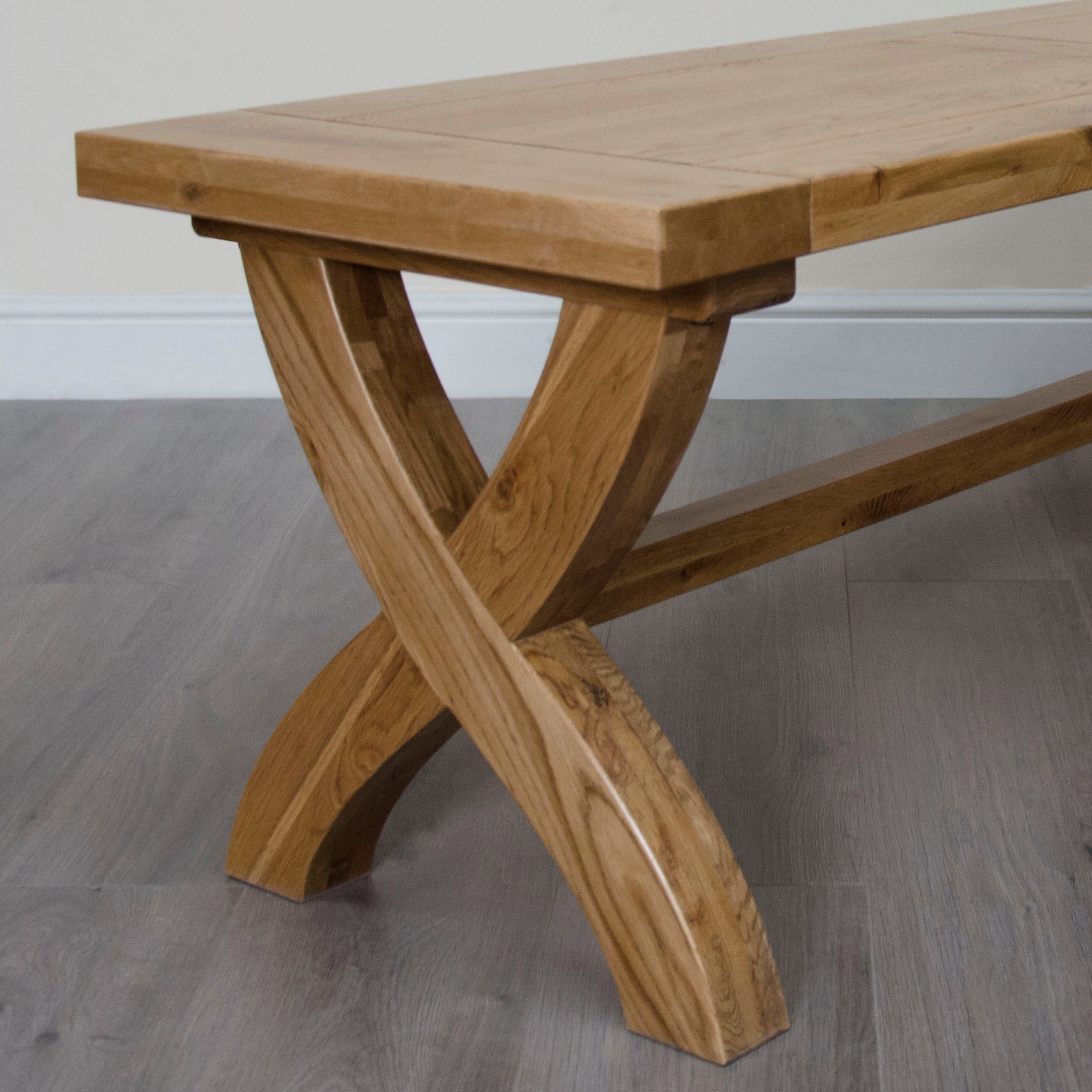 Melford solid oak bench with panelled top and cross x style leg detail with trestle bar