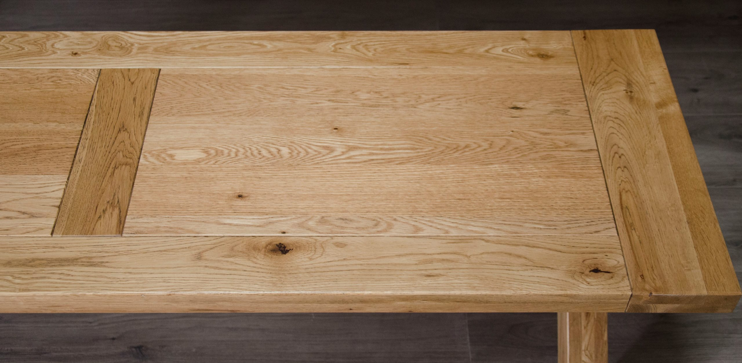 Melford solid oak bench with panelled top