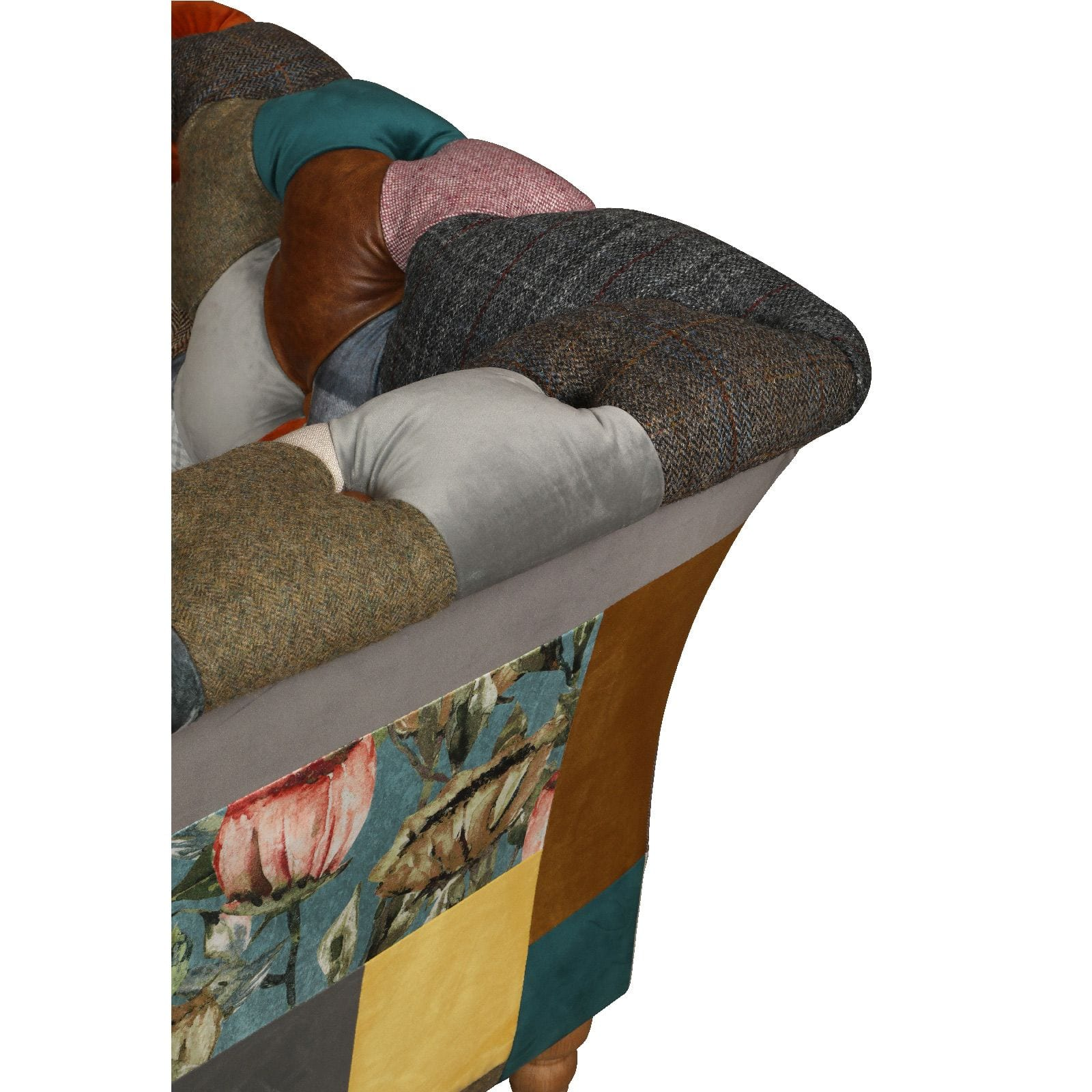 Rutland patchwork sofa close up detail