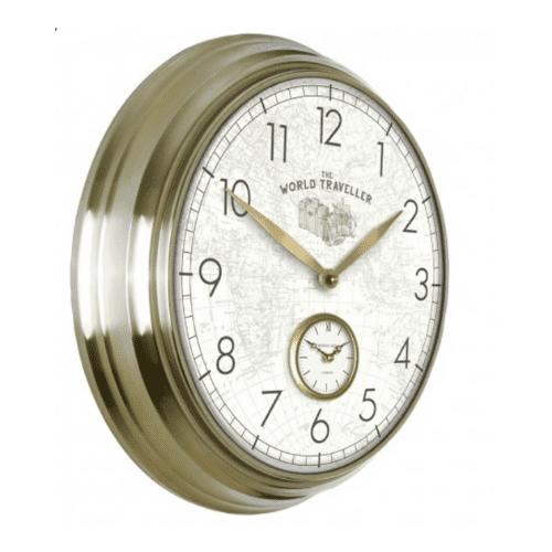 "Thomas Kent 19"" Greenwich wall clock world traveller v1"
