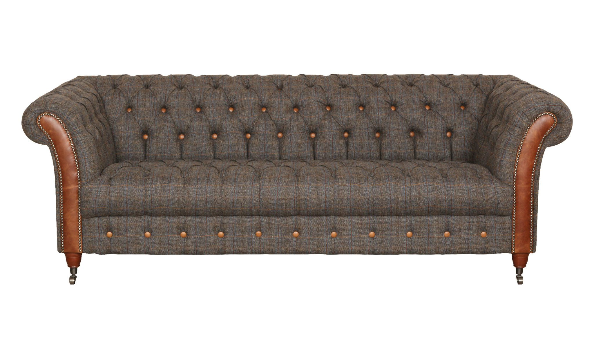 Vintage Sofa Company Chester Club Fast Track 3 Seater Sofa moreland tweed and cerato brown chesterfield sofa