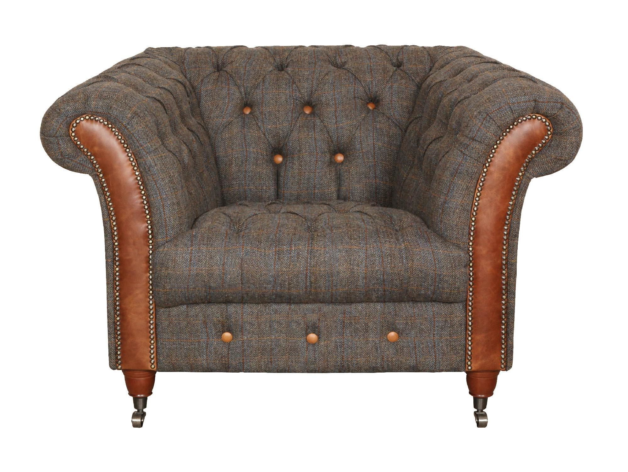 Vintage Sofa Company Chester Club Fast Track Chair moreland tweed and cerato brown chesterfield armchair