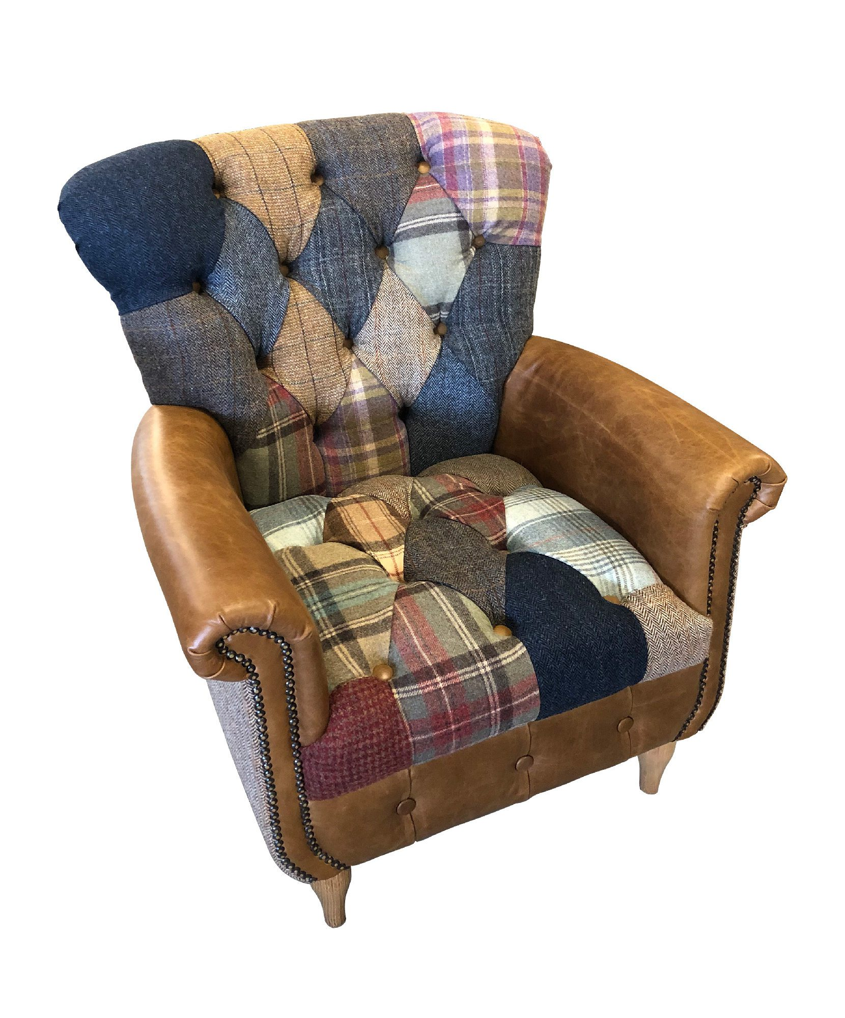 Vintage Sofa Co Gotham Harlequin Fast Track Chair in patchwork harris tweed and wool fabric with cerato brown leather arms and detailing on turned oak legs cutout