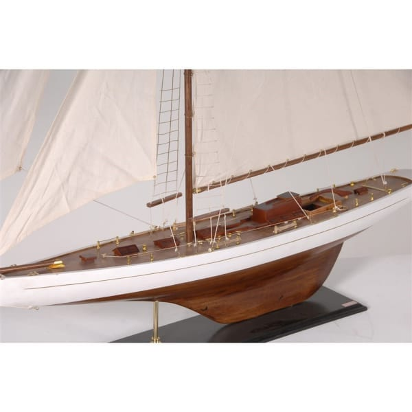 large wooden sailboat close up