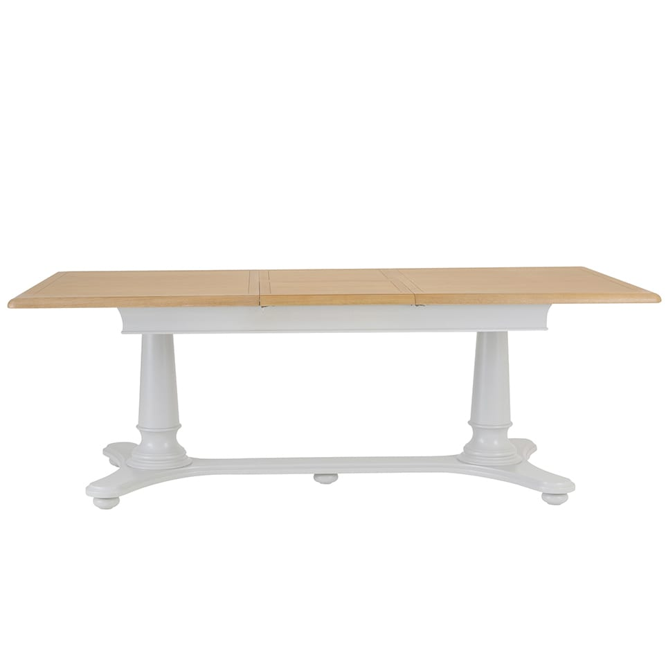 Cavendish Extending dining table 2.1m painted legs with oak Image showing extended top