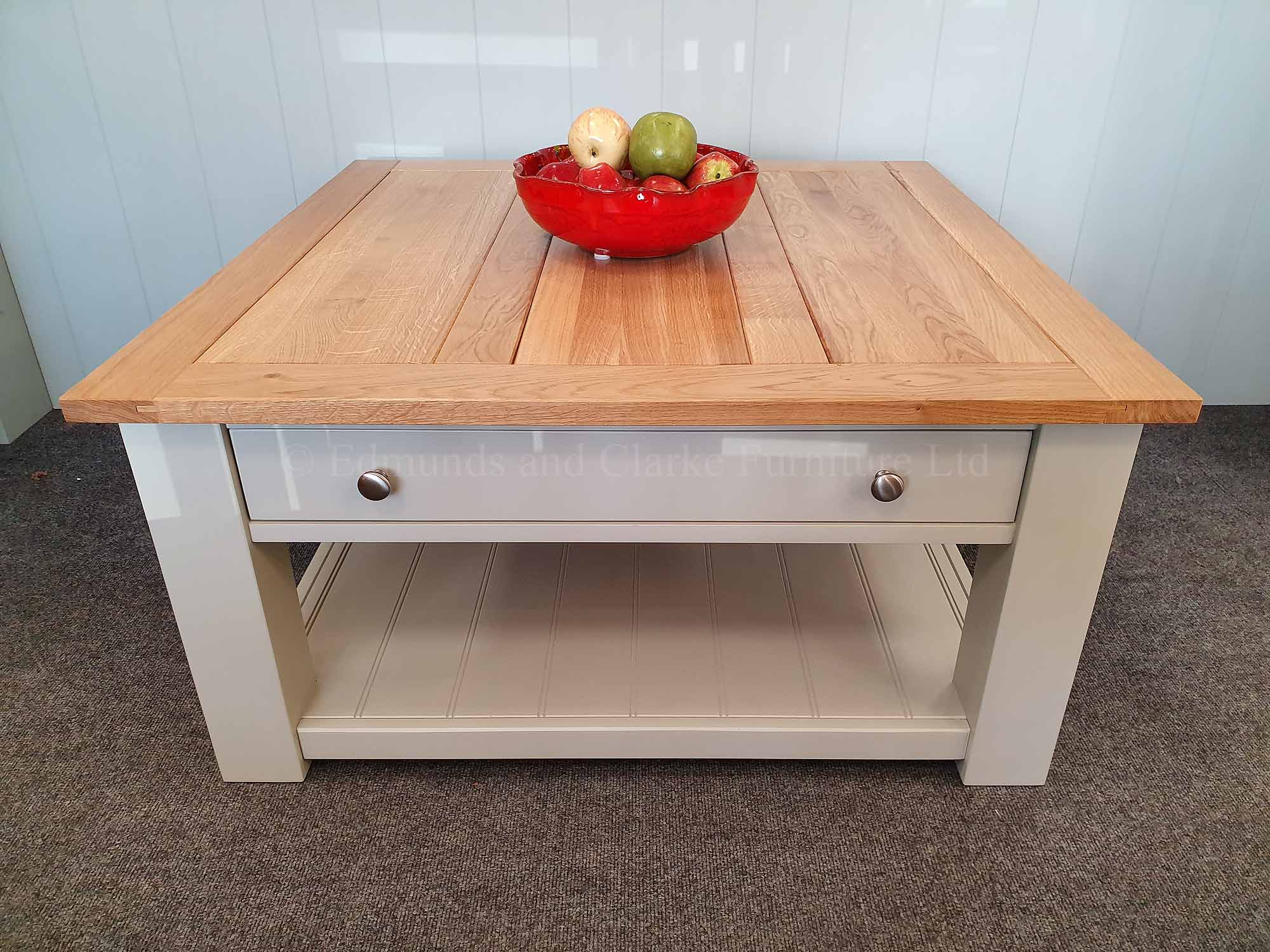 Large square painted grey coffee table with drawer and shelf solid panelled oak top