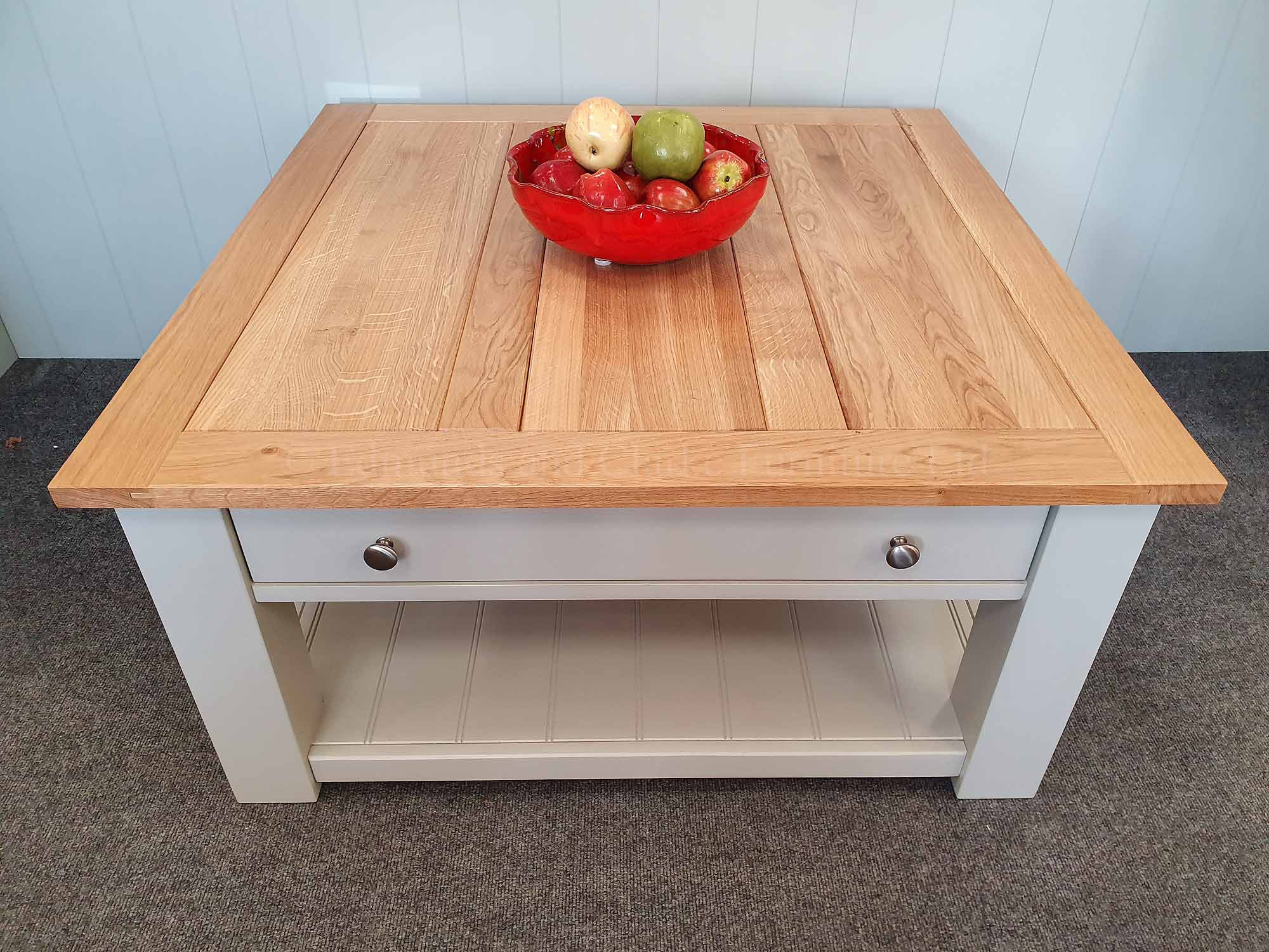 Large square coffee table with drawer and shelf painted grey oak top