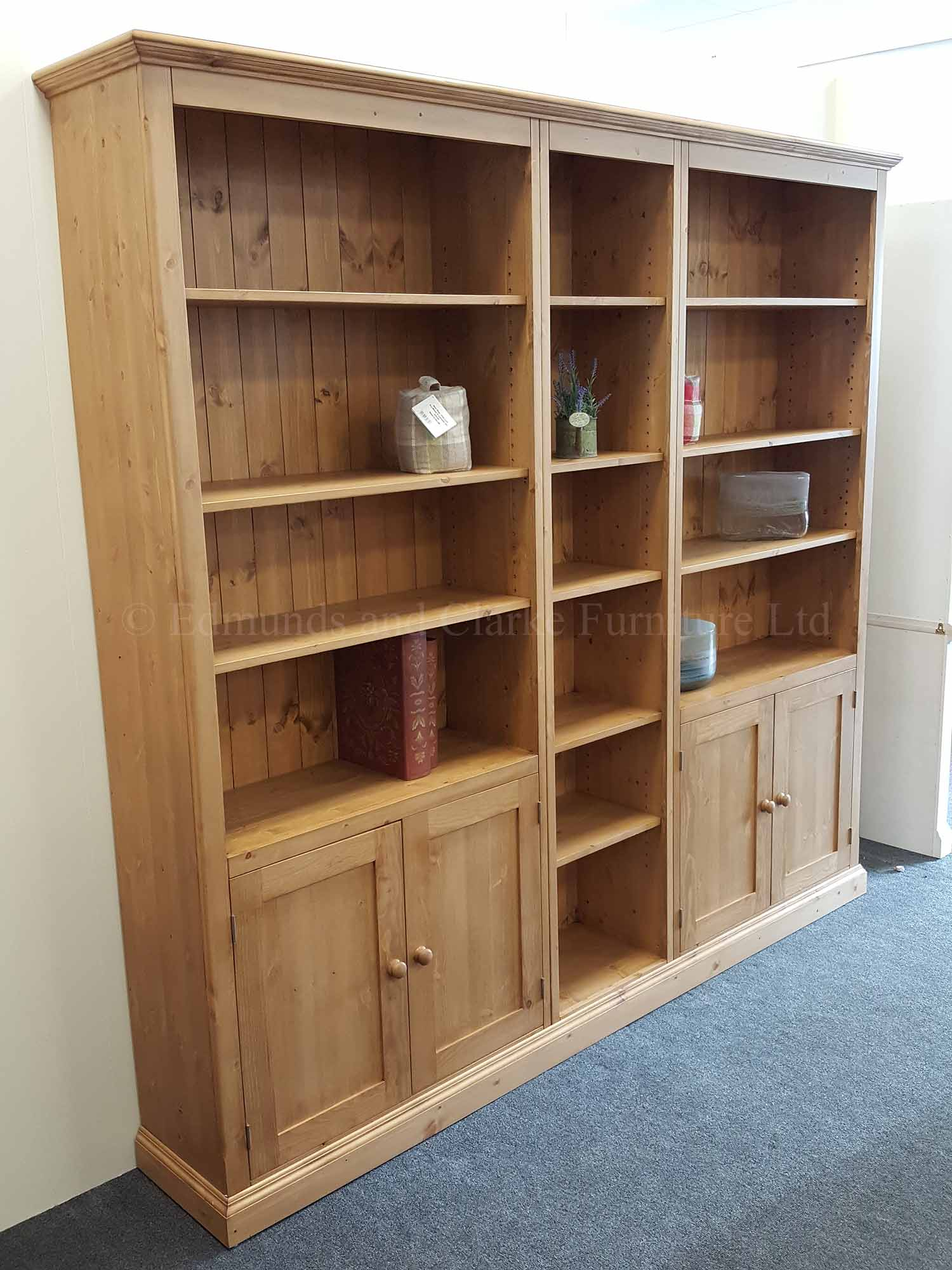Wide 3 three part bookcase with cupboards and open shelves 230cm wide
