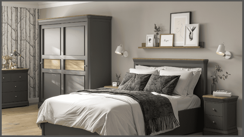 Blakeney painted collection showing bed and wardrobe - webslide