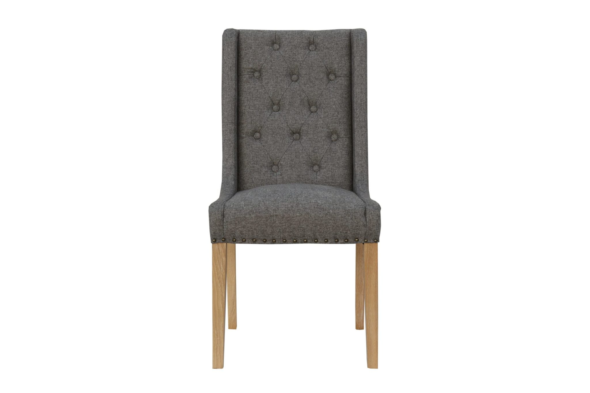 Button Backed studded dining chair front view of dark grey