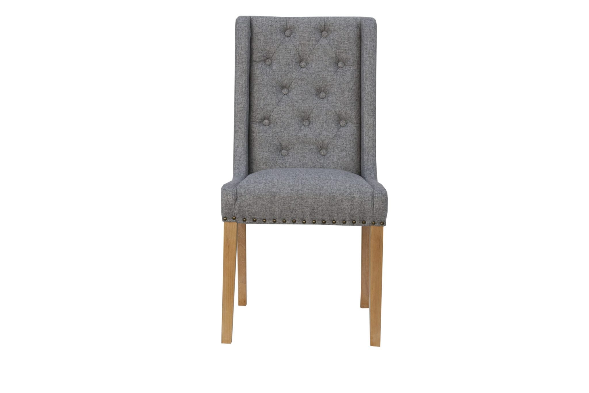 Button Studded Chair light grey with side supports