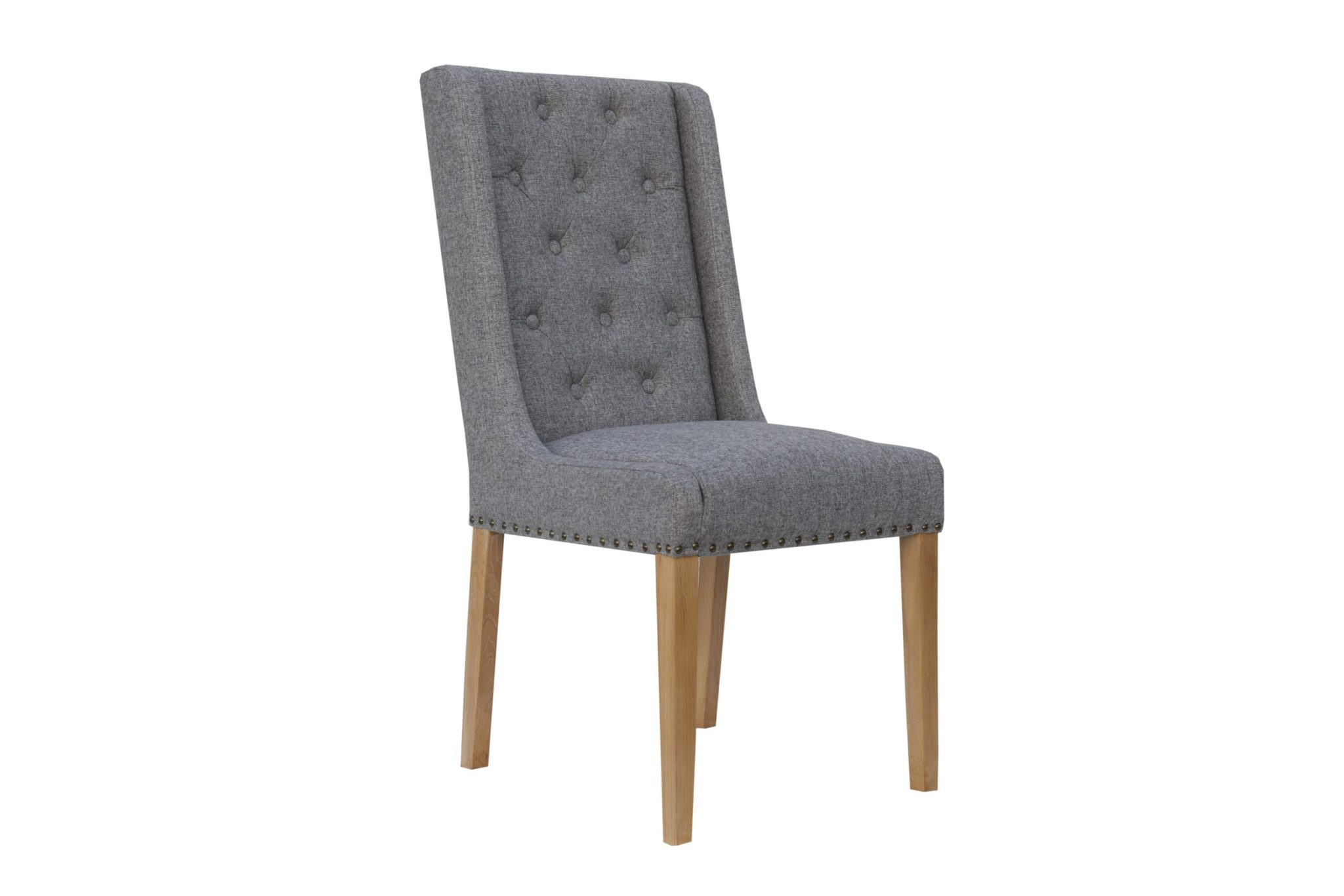Button back studded dining chair with side supports