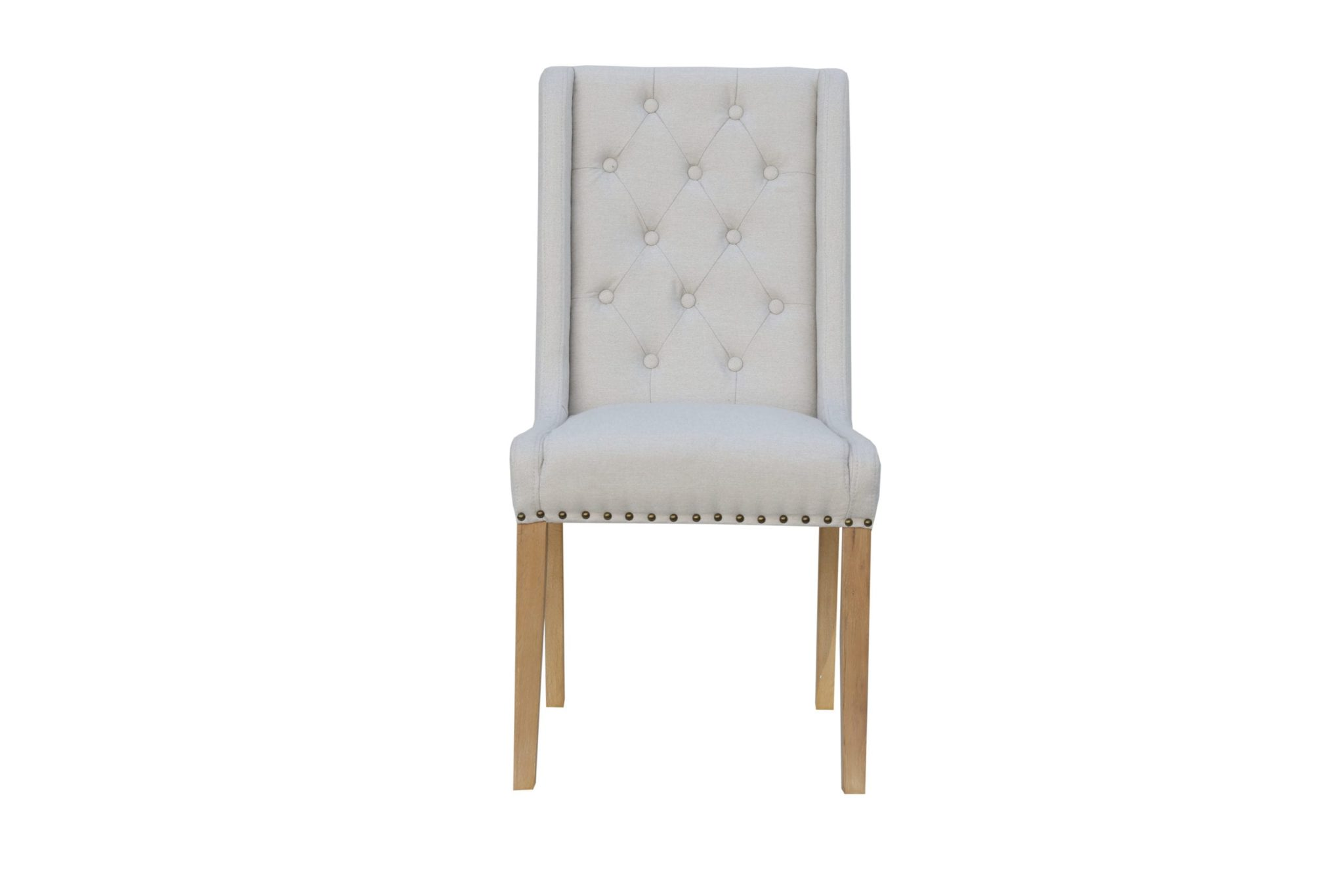 button studded back chair colour natural with side supports