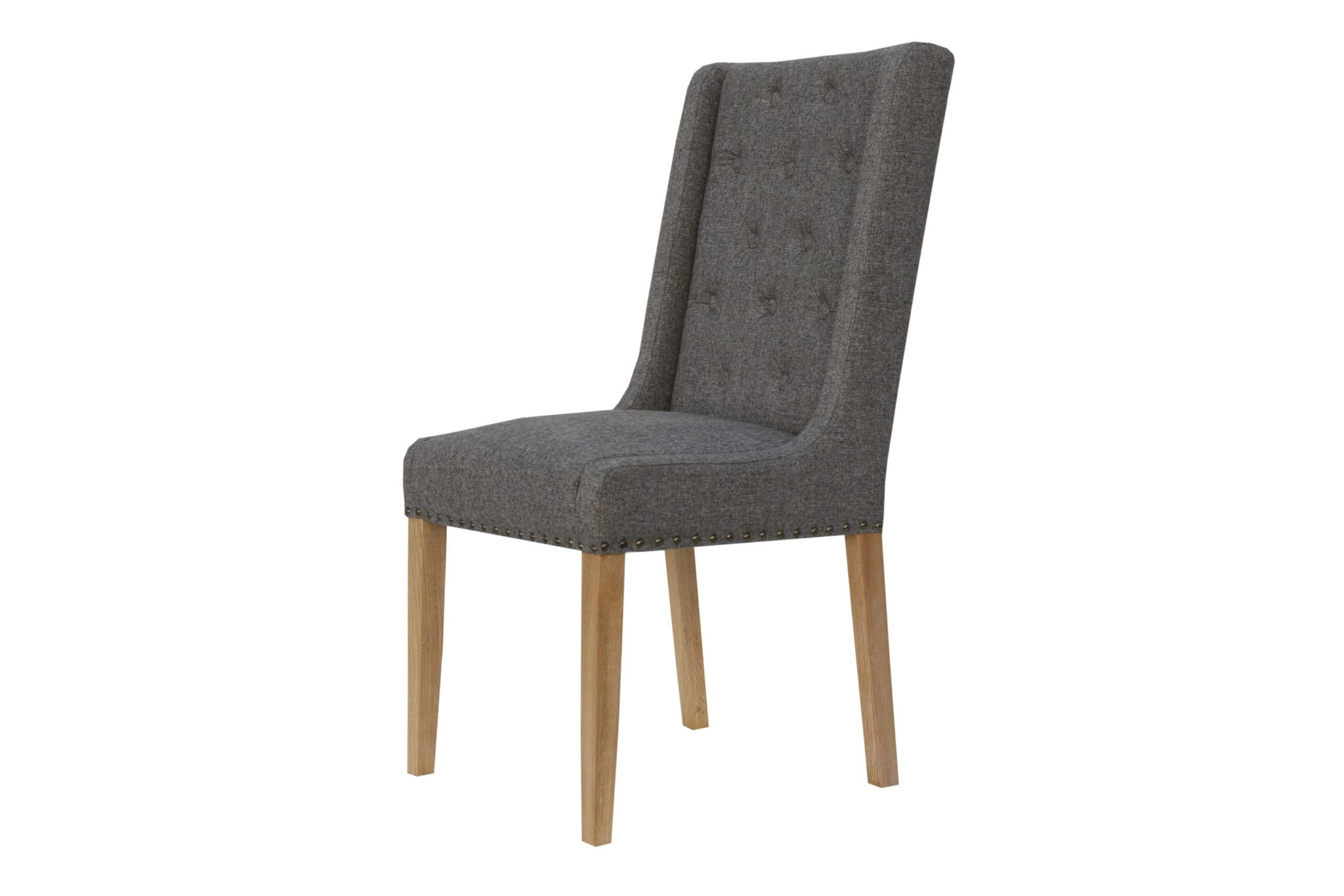 Button back studded dining chair is dark grey side view