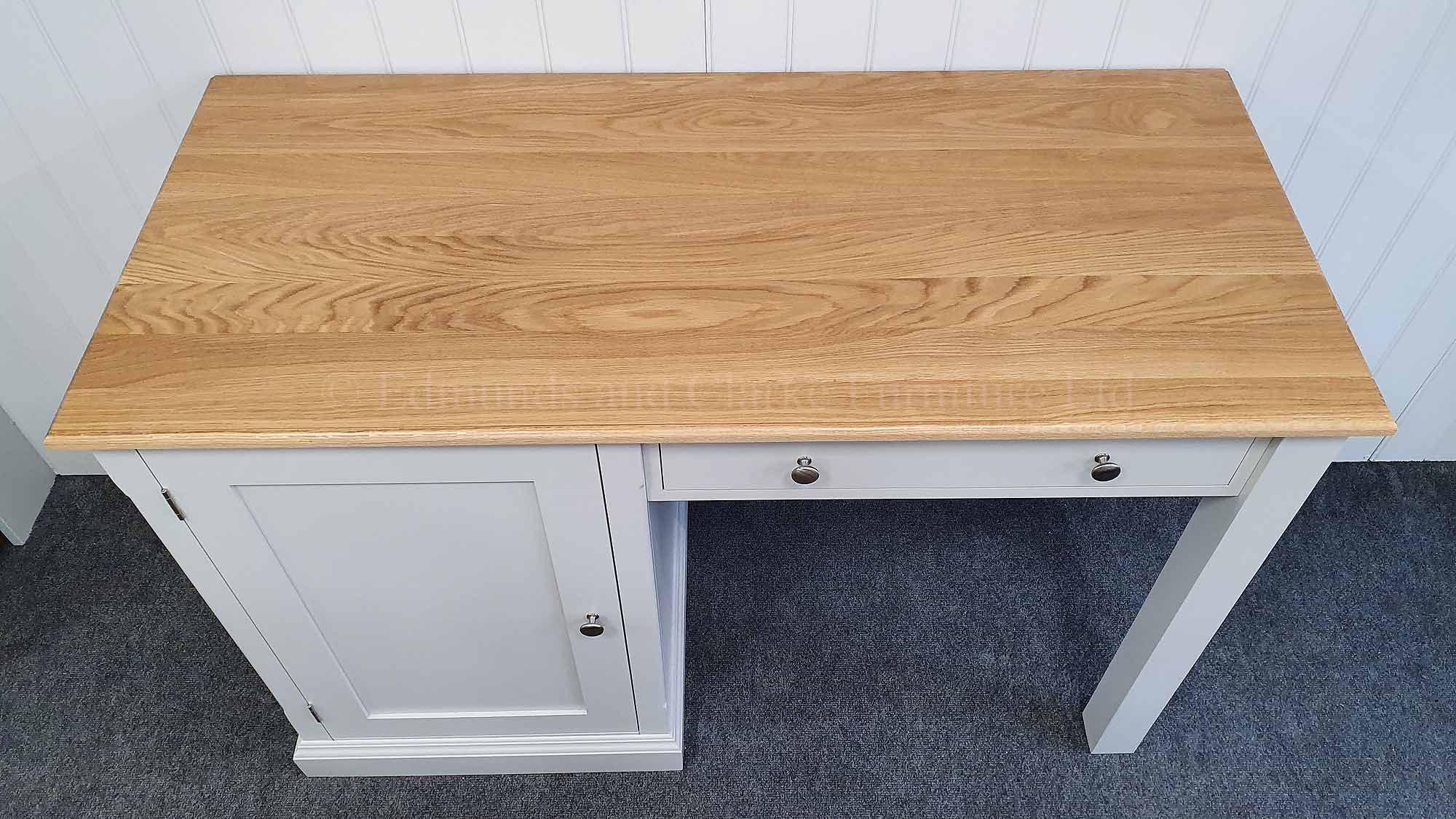 small office desk painted with oak top